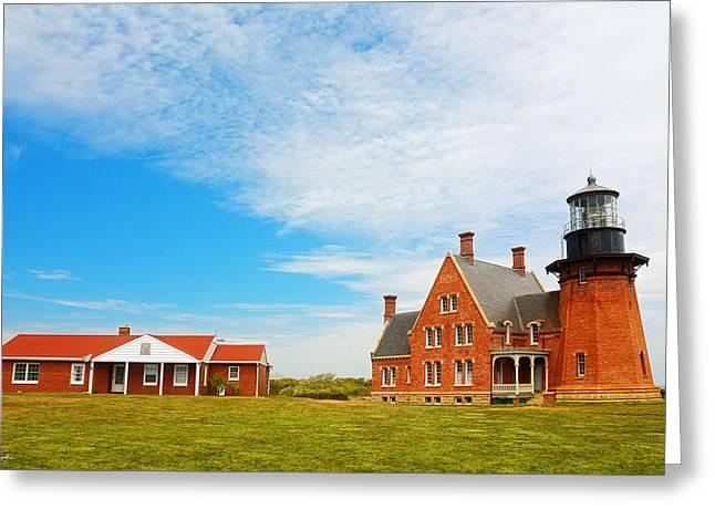 Atlantic Ocean Paintings Greeting Cards - Block Island Southeast Lighthouse Rhode Island Greeting Card by Lourry Legarde