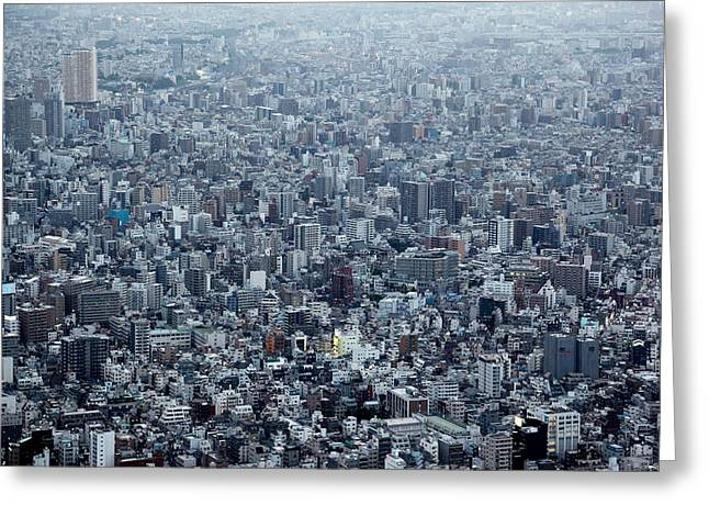 City Buildings Greeting Cards - Blockscape Greeting Card by Koji Tajima