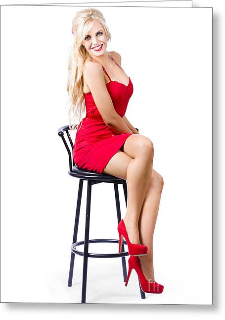 Youthful Greeting Cards - Blond female bistro babe on bar stool in red dress Greeting Card by Ryan Jorgensen