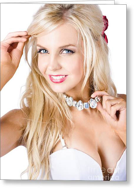 Blond Woman With Necklace Greeting Card by Jorgo Photography - Wall Art Gallery