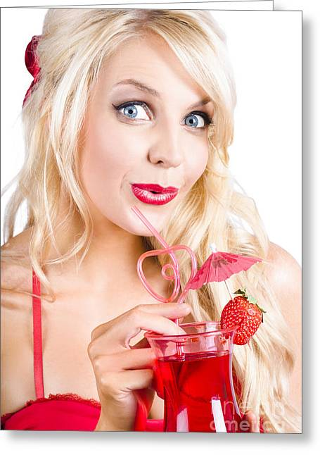 Youthful Photographs Greeting Cards - Blond woman with red cocktail Greeting Card by Ryan Jorgensen
