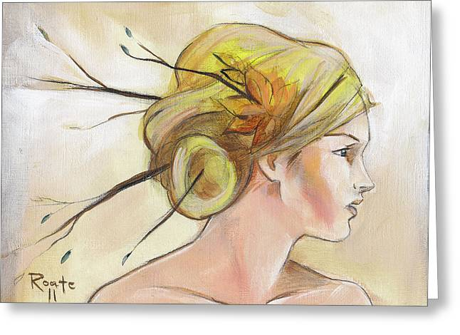 Blonde Autumn Right Greeting Card by Jacque Hudson
