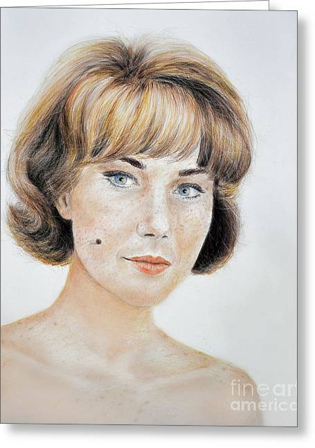Blonde Beauty With Bangs Greeting Card by Jim Fitzpatrick