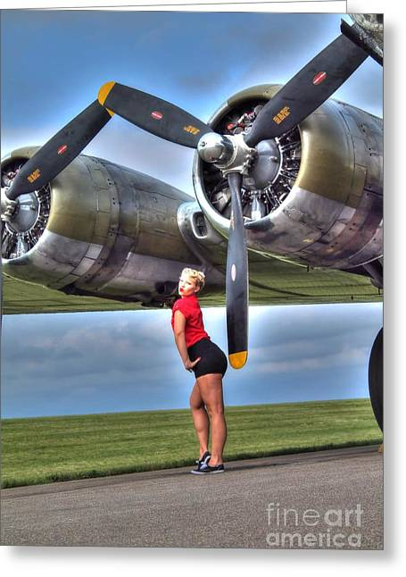 Sexy Women Framed Prints Greeting Cards - Blonde Bomber Girl Greeting Card by Jimmy Ostgard