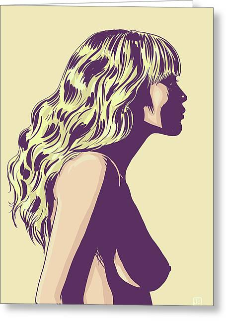 Girl Profile Greeting Cards - Blonde Greeting Card by Giuseppe Cristiano
