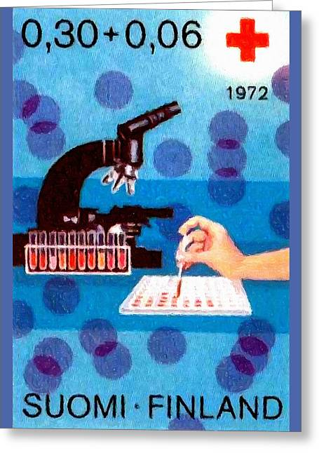 Microbiology Paintings Greeting Cards - Blood Analysis Microscope Greeting Card by Lanjee Chee