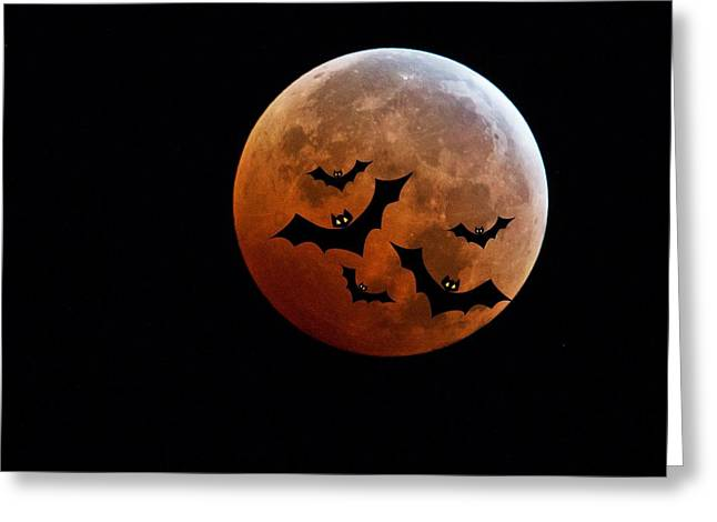 Super Moon Greeting Cards - Blood Full Moon and Bats Greeting Card by Marianna Mills