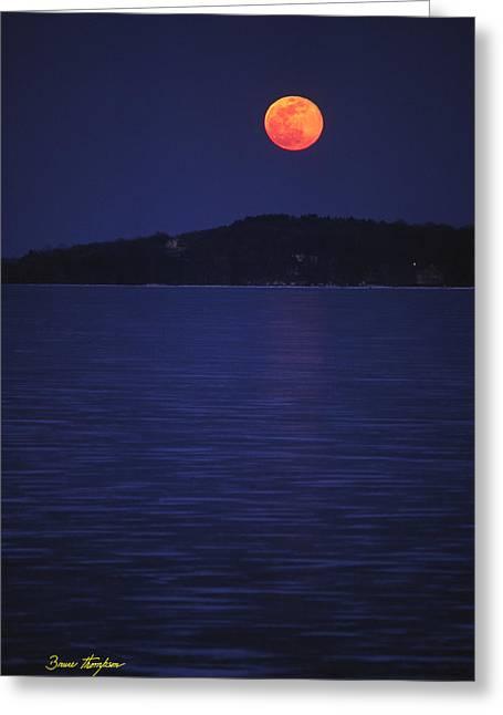 Blood Moon - Black Point - Lake Geneva Wisconsin Greeting Card by Bruce Thompson