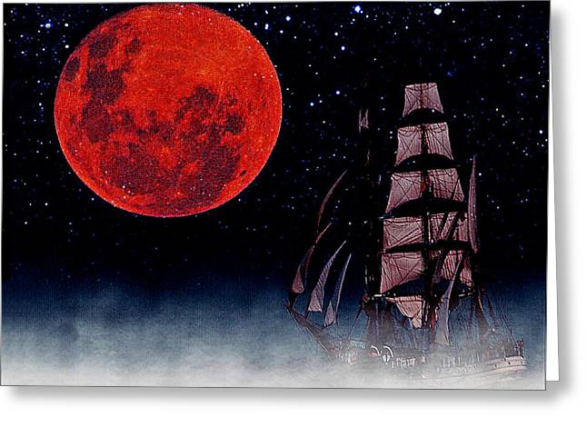 Recently Sold -  - Wooden Ship Greeting Cards - Blood Moon Greeting Card by Blair Stuart