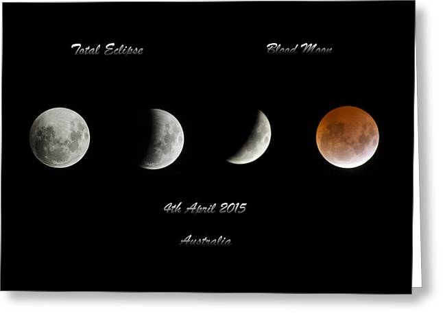 Harvest Moon Greeting Cards - Blood Moon Greeting Card by Damian Morphou