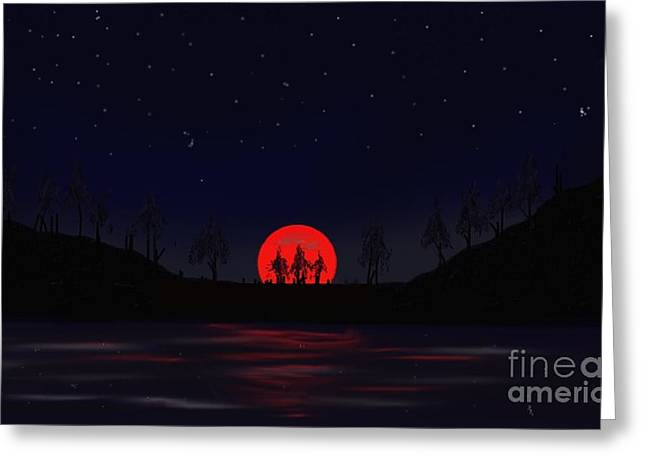Online Art Pastels Greeting Cards - Blood moon Greeting Card by Jerod Roberts