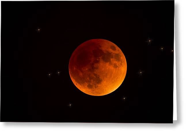 Moon Rise Greeting Cards - Blood Moon Lunar Eclipse 2015 Greeting Card by Saija  Lehtonen