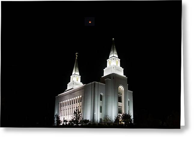 Blood Moon Over Mormon Temple Greeting Card by Alan Hutchins