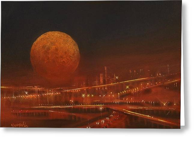 Blood Moon Greeting Cards - Blood Moon Over the City Greeting Card by Tom Shropshire