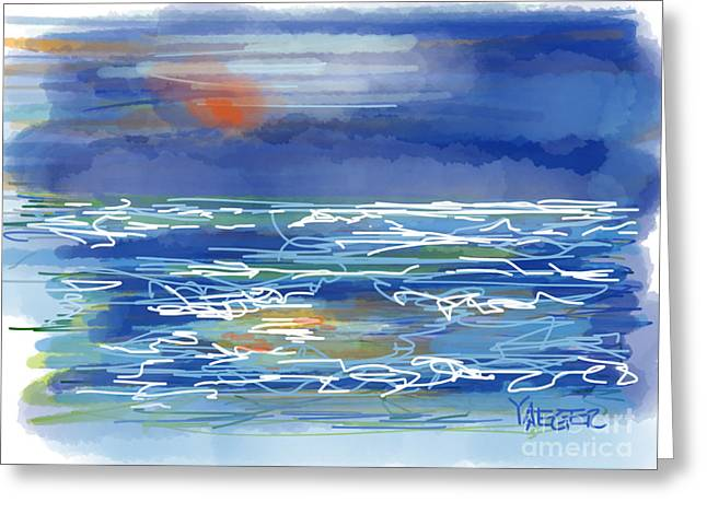 North Shore Drawings Greeting Cards - Blood Moon Over the Ocean Greeting Card by Robert Yaeger
