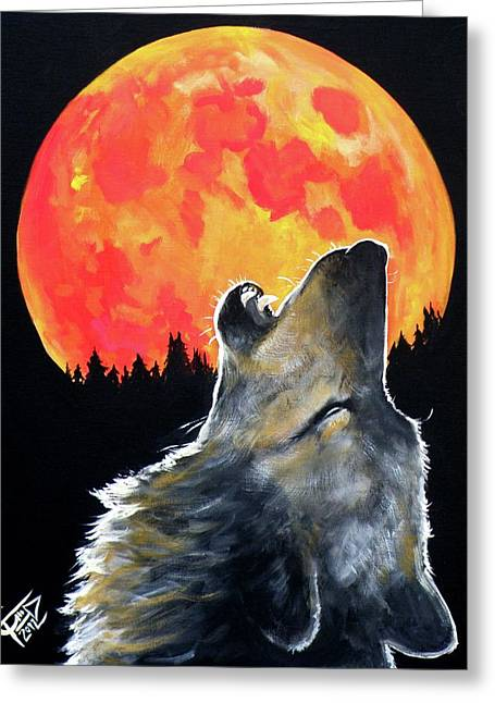 Blood Moon Greeting Cards - Blood Moon Wolf Greeting Card by Tom Carlton