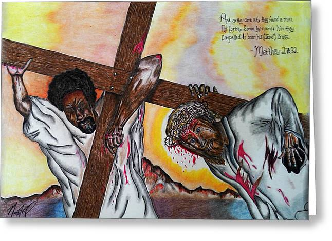 Biblical Pastels Greeting Cards - Blood on the Cross Greeting Card by Neo El