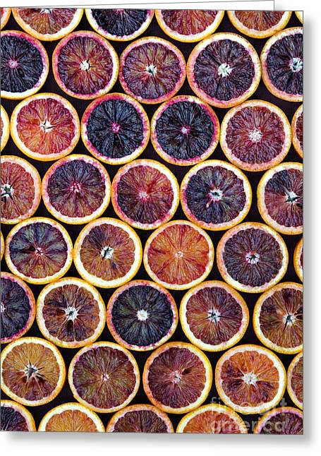 Blood Oranges Pattern Greeting Card by Tim Gainey