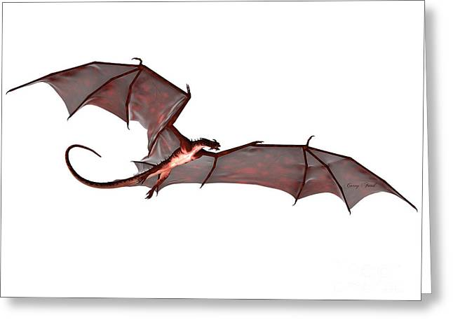Fantasy Creatures Greeting Cards - Blood Red Dragon Greeting Card by Corey Ford
