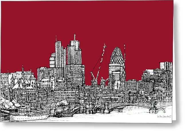 Pen And Ink Framed Prints Greeting Cards - Blood red London skyline  Greeting Card by Lee-Ann Adendorff
