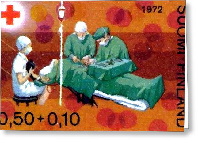 Pill Paintings Greeting Cards - Blood transfusion  Greeting Card by Lanjee Chee