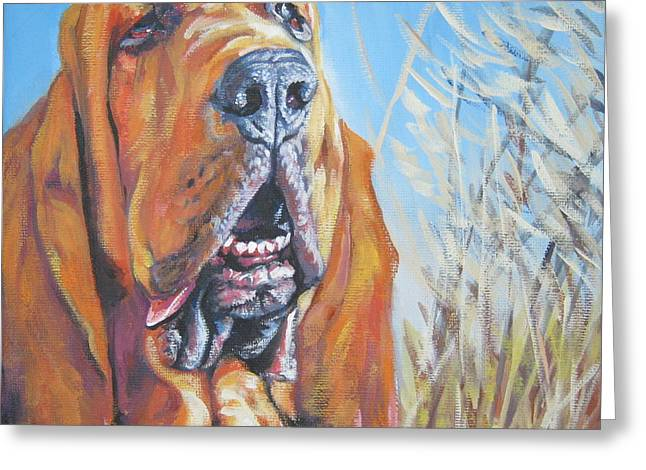 Bloodhounds Greeting Cards - Bloodhound in wheat Greeting Card by Lee Ann Shepard