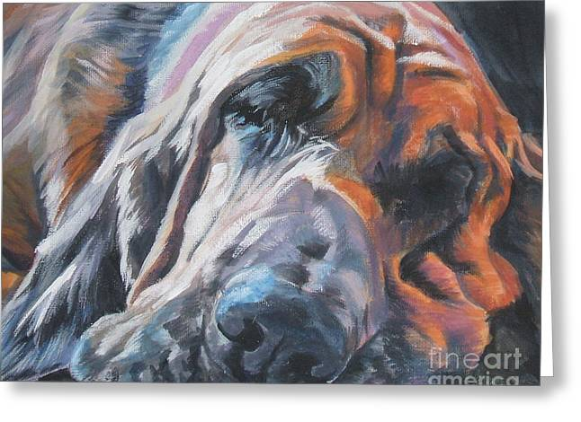 Bloodhounds Greeting Cards - Bloodhound Sleeping Greeting Card by Lee Ann Shepard