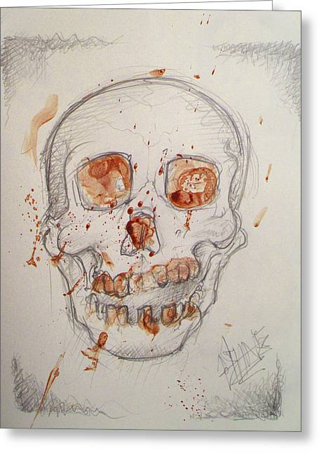 Samhane Greeting Cards - Bloodskull Greeting Card by Sam Hane