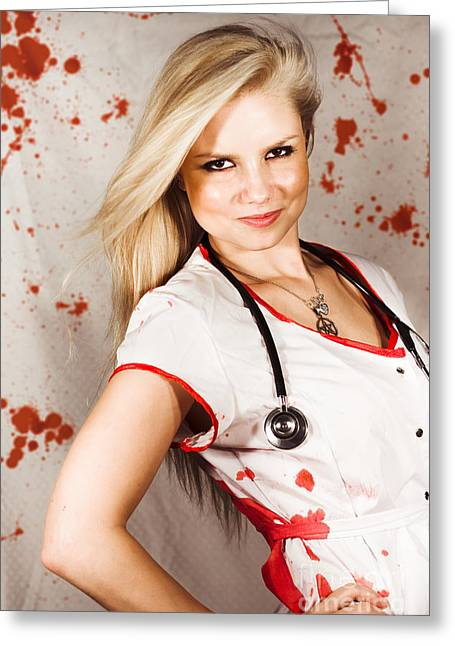 Bloodstained Sadistic Nurse Greeting Card by Jorgo Photography - Wall Art Gallery