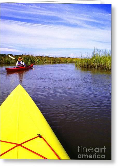 Sea Kayak Greeting Cards - Bloody Marsh St Simons Island Greeting Card by Thomas R Fletcher