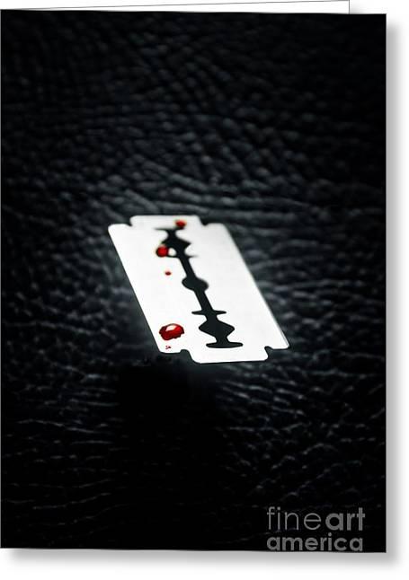 Bloody Razor Greeting Card by Carlos Caetano