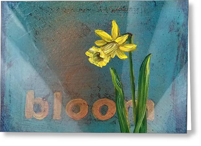 Street Art Greeting Cards - Bloom Daffodil Greeting Card by Andrea LaHue