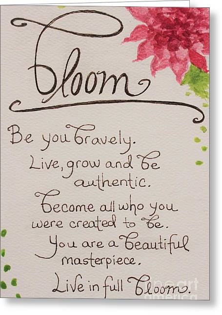 Authentic Inspiration Greeting Cards - Bloom Greeting Card by Elizabeth Robinette Tyndall