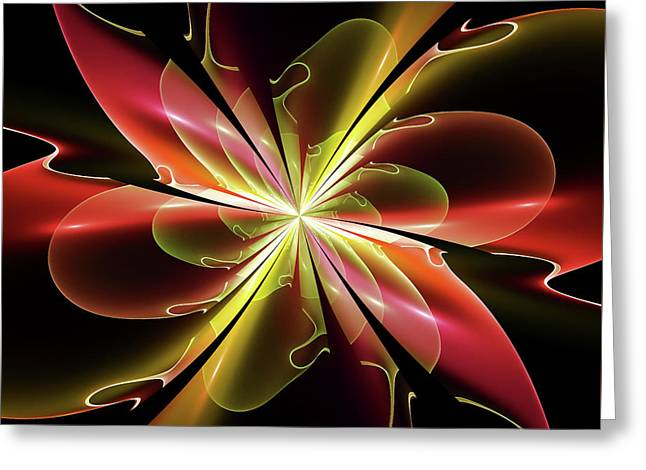 Surreal Geometric Greeting Cards - Bloom With Red Greeting Card by Deborah Benoit