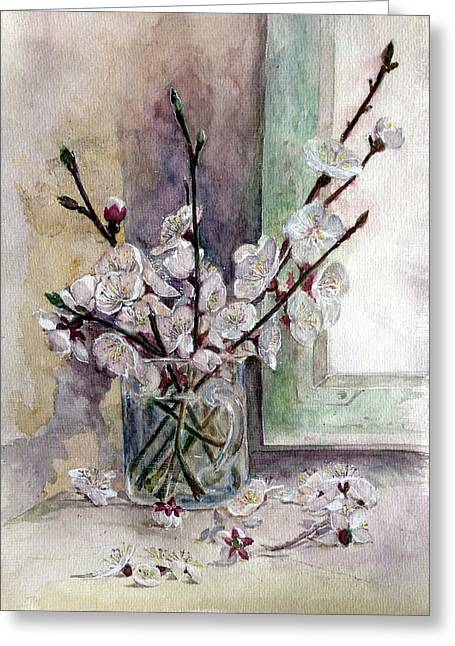 Apricot Drawings Greeting Cards - Blooming apricots Greeting Card by Polina Konovalenko