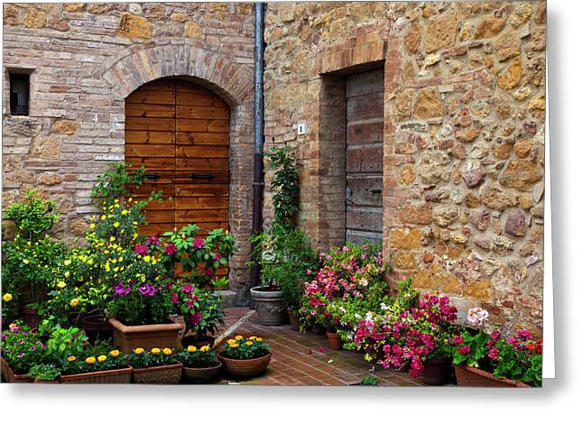 Stone Flower Planter Greeting Cards - Blooming Corner Greeting Card by Eggers   Photography