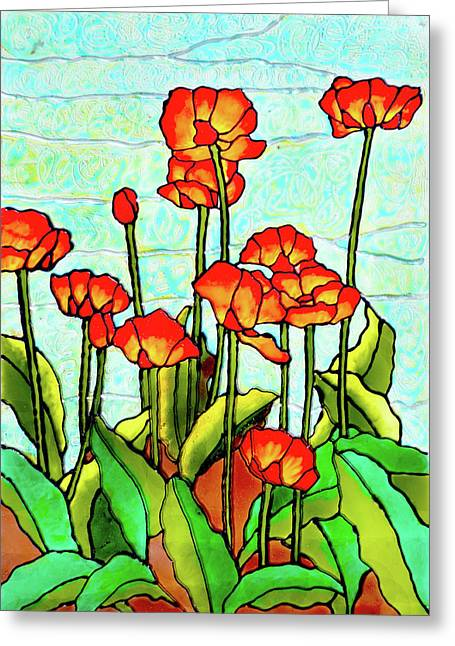 Red Glass Greeting Cards - Blooming Flowers Greeting Card by Farah Faizal
