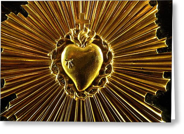 Cross Jewelry Greeting Cards - Blooming Heart of Gold Greeting Card by Edan Chapman
