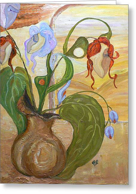 Mila Ryk Greeting Cards - Blooming Orchids in the Vase Greeting Card by Mila Ryk