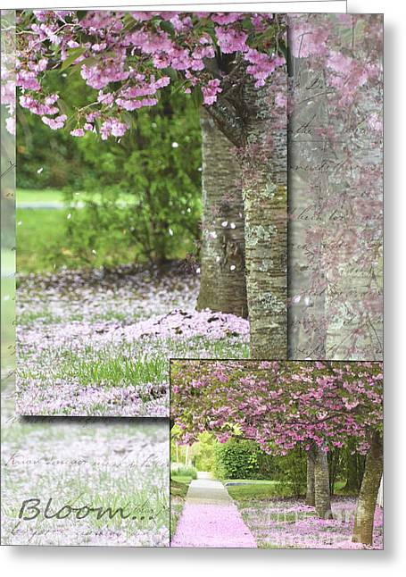 Hamptons Mixed Media Greeting Cards - Blooming Pink Tree in Spring Greeting Card by Anahi DeCanio - ArtyZen Studios