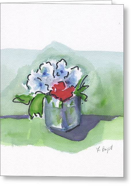 Glass Vase Greeting Cards - Blooms In A Glass Greeting Card by Frank Bright