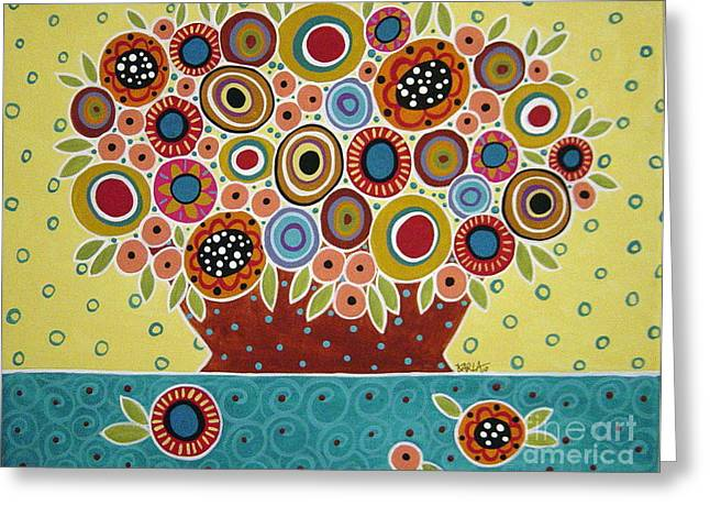Abstract Vase Flower Print Greeting Cards - Blooms In Pot Greeting Card by Karla Gerard