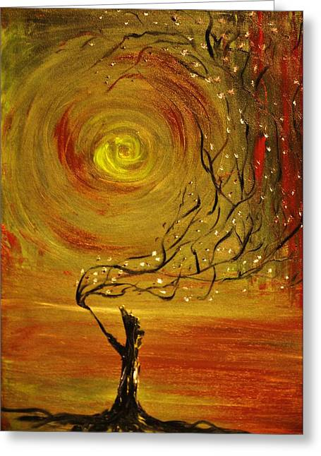Tree Roots Paintings Greeting Cards - Blossom Greeting Card by Evelina Popilian