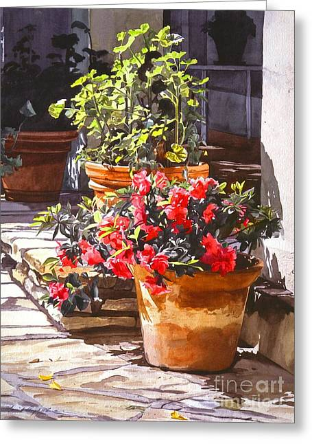 Geranium Greeting Cards - Blossom Niche Greeting Card by David Lloyd Glover