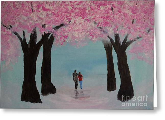 Cherry Blossoms Paintings Greeting Cards - Blossoming Romance Greeting Card by Leslie Allen