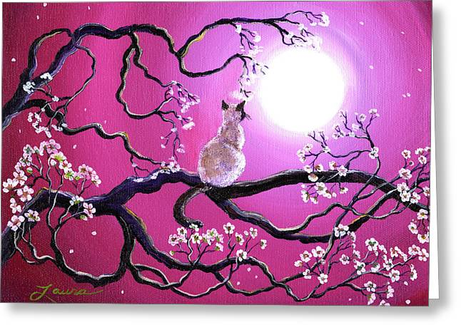 Fantasy Tree Greeting Cards - Blossoms in Fuchsia Moonlight Greeting Card by Laura Iverson