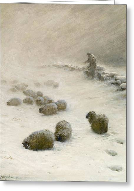 Blow Blow Thou Wintery Wind Greeting Card by Joseph Farquharson
