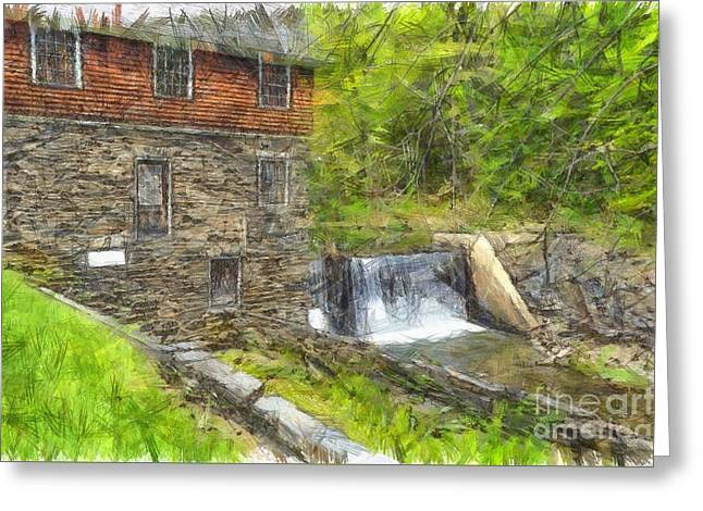 Blow Me Down Mill Cornish New Hampshire Pencil Greeting Card by Edward Fielding