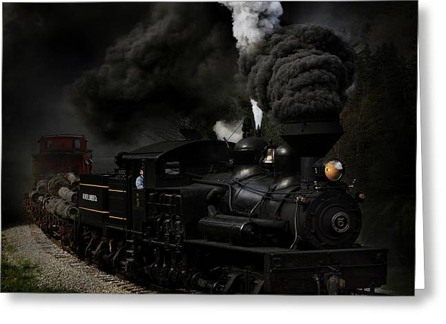 Railroad Track Greeting Cards - Blow That Whistle Greeting Card by Chuck Gordon