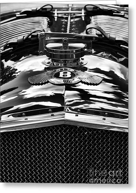 Radiator Cap Greeting Cards - Blower Bentley Monochrome Greeting Card by Tim Gainey